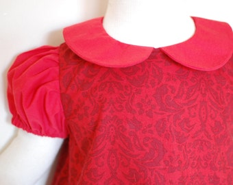 RED DAMASK baby girl Christmas dress with short puff sleeves and peter pan collar, retro toddler girls handmade Christmas red classic dress
