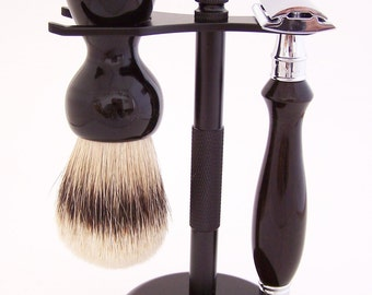 Gabon Ebony Wood 24mm Super Silvertip Shaving Brush and Edwin Jagger DE Safety Razor Shaving Set (Handmade in USA) G1 - Wood Shaving Set