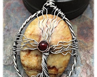 Flower Jade Tree of Life Cross Necklace with Carnelian, Sterling Silver, Inspirational Jewelry, Cross, Ready to Ship