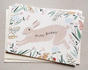 Running Rabbit Birthday Card (Set of 2)