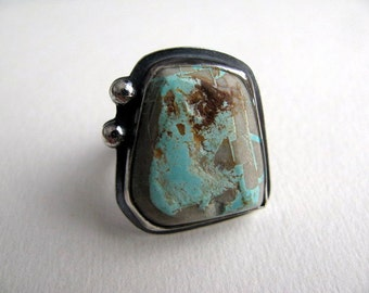 Turquoise Ring, Sterling Silver Ring, Roystone Turquoise, Large Stone Ring Size 7.75