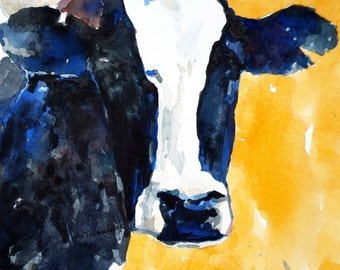 Cow Print 8.5 x 11 paper size Cow art Cow print of original watercolor painting Cow decor Holstein Cow Black and White cow art