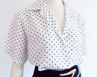 Designer Cacharel 1970s blouse/ 70s polkadot shirt/ French secretary blouse/ black and white shirt