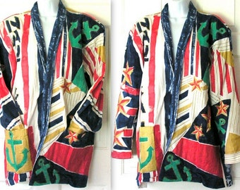 Vintage Cotton Jacket Nautical Hand Painted by Heather Eighties