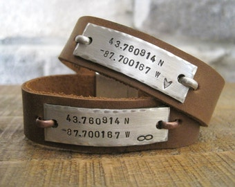 Couples Custom Hidden Message Personalized Leather Bracelets