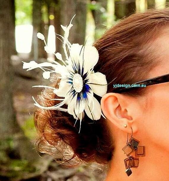 Something Blue Bridal Fascinator, Peacock Wedding Headpiece, Feather Bridal Headpiece, Flower Hair Clip, Feather Fascinator, ART NIRVANI