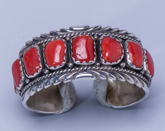 Navajo Row Bracelet - Coral Sterling Cuff - Signed Dixon HMIJ - Small / Child