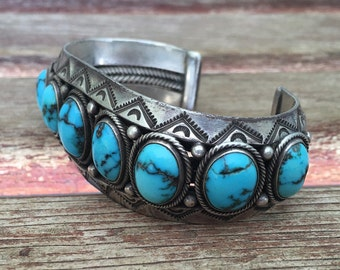 Navajo Row Bracelet - Candelaria Turquoise - 70s Large Cuff