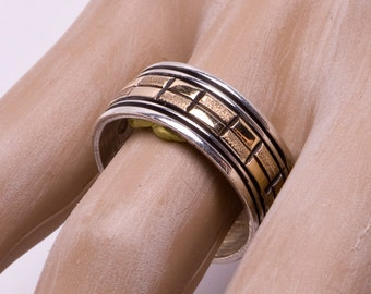 Navajo Sterling 14k Wedding Band Ring -  Alvin Monte - sz 9