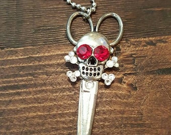 Swarovski Crystal Skull and Scissors Necklace