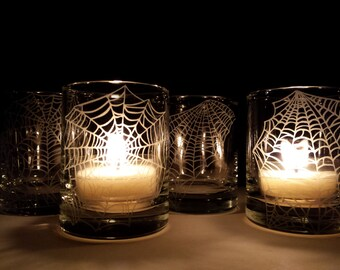 Webs 4 Glass Votive Candle Holders Halloween Favors Engraved 'Webs'