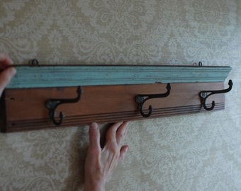 Hat or coat rack with vintage hooks
