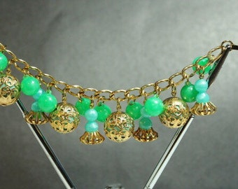 1960's Bracelet with Beads and Baubles Goldtone with Green and Blue Beads