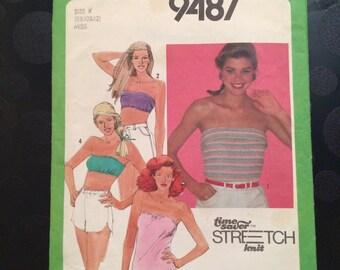 Simplicity Sewing Pattern 9487 Women's Tube top & Bandeaux Sz 8, 10, 12