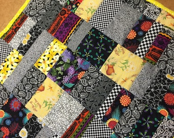 Bright fun black white and yellow lap or Childs Quilt