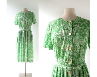 Vintage 1950s Dress / In Arcadia / Novelty Print Dress / 50s Dress / Medium M