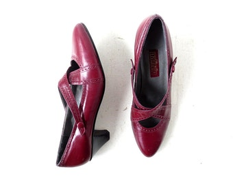 Vintage Mary Janes | 80s Shoes | Oxblood Heels | Size 8 1/2