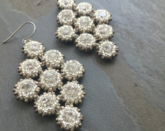 ROMANCE-Swarovski Crystal and Clear and Frosted Silver White Seed Bead Chandelier Earrings