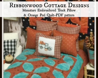 PDF Miniature Embroidered Truck and Pumpkins pillow, Pillow Shams and Quilt Pattern PDF -1:12 dollhouse  scale
