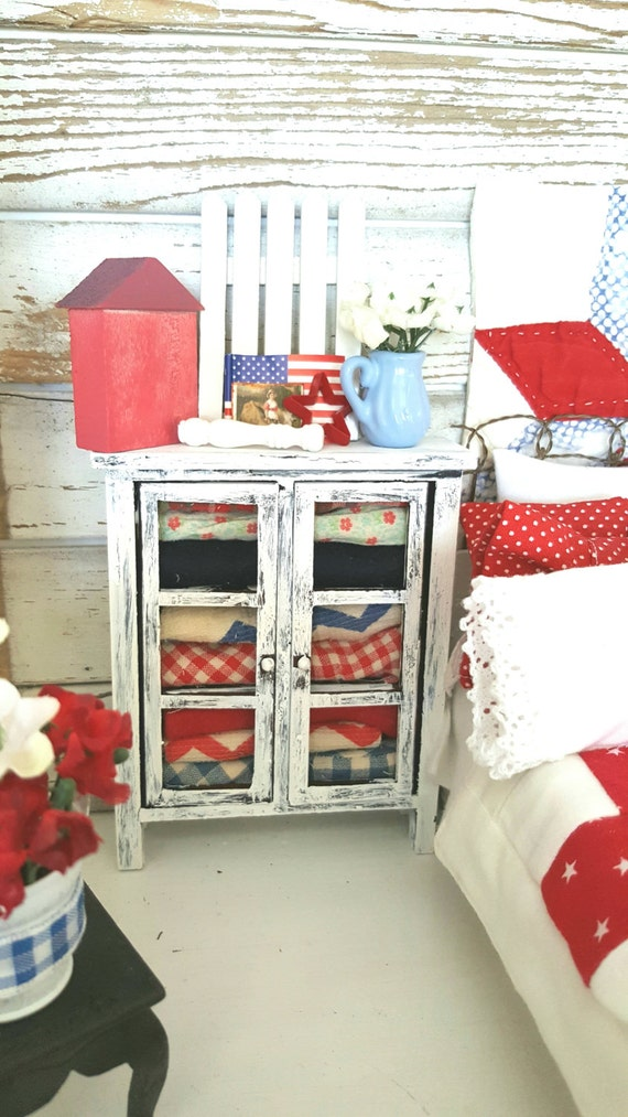 Miniature Shabby Distressed White Hutch with Vintage Americana Quilts and Accessories-Dollhouse Miniature