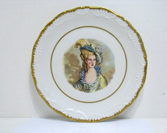 Vintage Victorian Woman Hand Painted Detail Plate Limoges France Plate