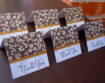Brown Flowered Mini Thank You Cards 2x2 (6)
