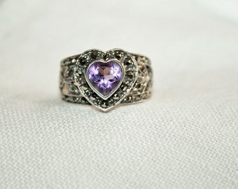 Heart Amethyst Vintage Ring Sterling Silver Marcasite Romantic Gift Timeless