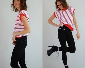 SALE SALE Blousy Stripe Top Vintage 90s Red and White Striped Slouchy Indie Hip Hop Knit Shirt (s m)