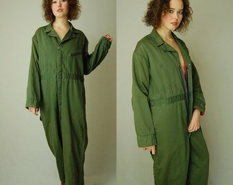 sale 25% every sunday Military Jumpsuit Vintage Drab Green Quilted Mens Distressed Utilitarian Worn Coveralls Jumpsuit (l xl)