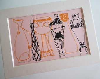 FANCY BOTTLES | a Fifties style vases retro silkscreen print with mat in pink gold and gray by Kathryn DiLego