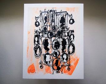 CAMEOS #036 | retro silhouettes in neon orange and black, an original fine art screenprint by Kathryn DiLego (8x10)