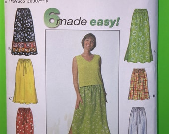 1997 Simplicity 7513 Pattern, 6 Made Easy, Misses Skirt And Pants Size L, XL