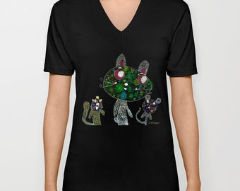 Rabbit and friend UNISEX V NECK Tee T Shirt by See Foon Painting