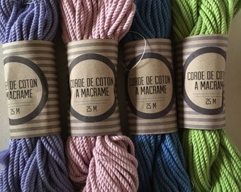 Skein ( 82 ft)  of cotton rope for macrame , diameter 3mm ( 9 ga), made in france lilac, pink, green, blue