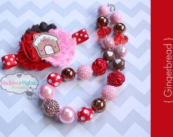 chunky necklace or baby headband set { Gingerbread } Red, pink brown, Pink Snowman Candy Cane Santa, Christmas, Holiday photography prop