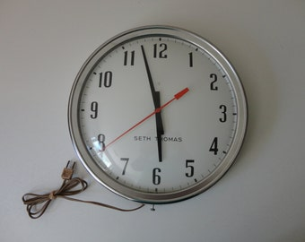 VINTAGE seth thomas INDUSTRIAL chrome electric CLOCK