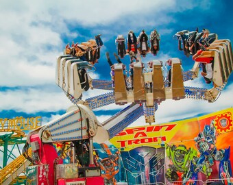 Spin a Tron Carnival Ride Fine Art Print- Carnival Art, County Fair, Nursery Decor, Home Decor, Children, Baby, Kids