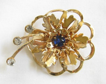 Vintage Blue and Clear Rhinestone Layered Flower Spray Brooch or Pin