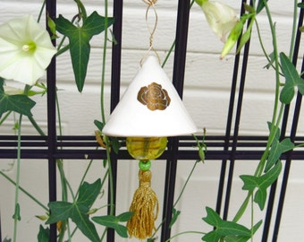Porcelain Ceramic White Bells With Gold Accents - Handmade Pottery Holiday Ornament Decoration