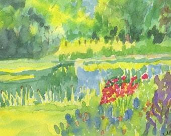 "Original Watercolor, ""Spring Garden"", 5""x7"" Matted to 8""x10"""