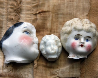 Found Object Antique Porcelain DOLL HEADS from Germany- Broken Doll Parts