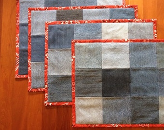 Recycled Denim Placemats with Bandana Binding - Set of 4