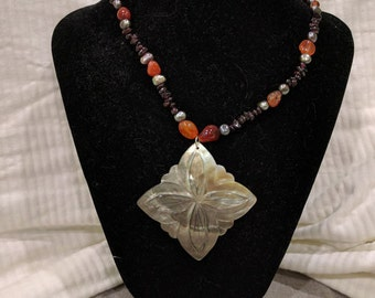 """Beaded Carved Shell Necklace - """"Reflective Embers"""""""