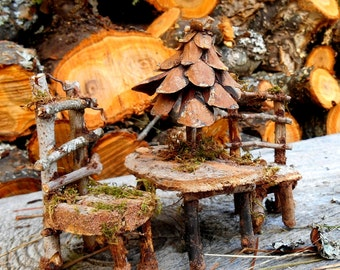 Fairy Forest Furniture set, 2 Chairs and Table with Umbrella, Natural materials, Miniature Garden, Fairy House Accessories, FREE US SHIPPING