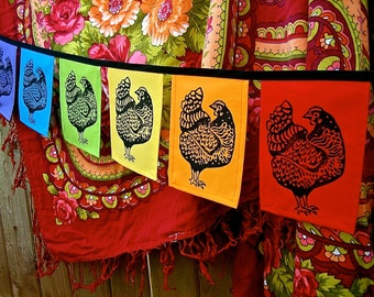 Rainbow Folk Hen Flags