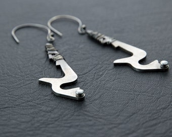 Earrings Made From Vintage Adding Machine Parts and Sterling Silver