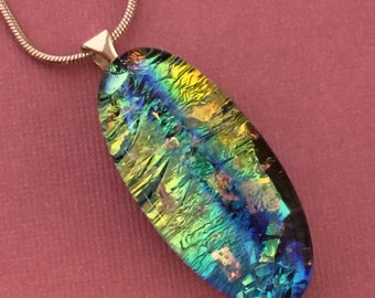 On The Right Track - Dichroic Glass Pendant Necklace