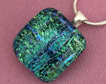The Green Room - Dichroic Glass Pendant Necklace