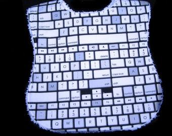 Handmade Baby Bib - White Chenille - Keyboard - Large size ready to ship