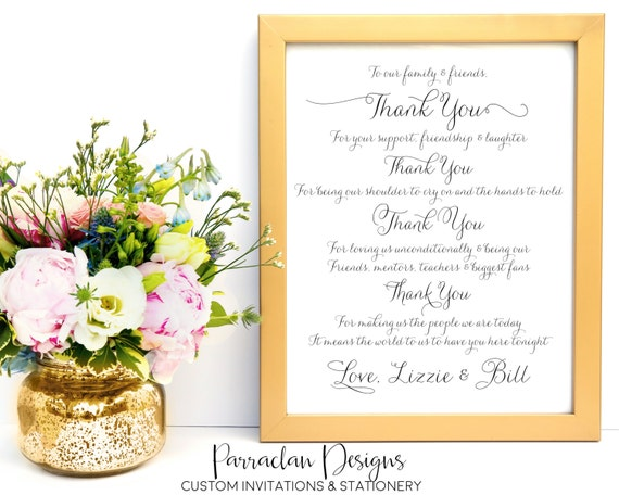 Wedding Thank You Sign - To Our Family and Friends - Wedding Signs - FS01
